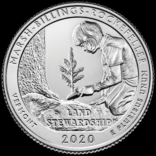 США монета 25 центов Национальный исторический парк Марш-Биллингс-Рокфеллер в Вермонте, реверс
