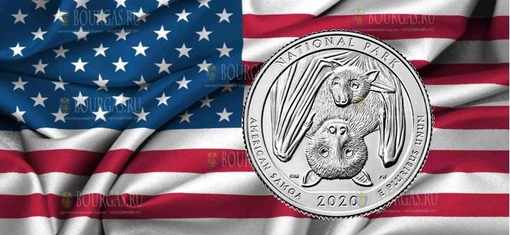 США монета 25 центов Национальный парк Американского Самоа