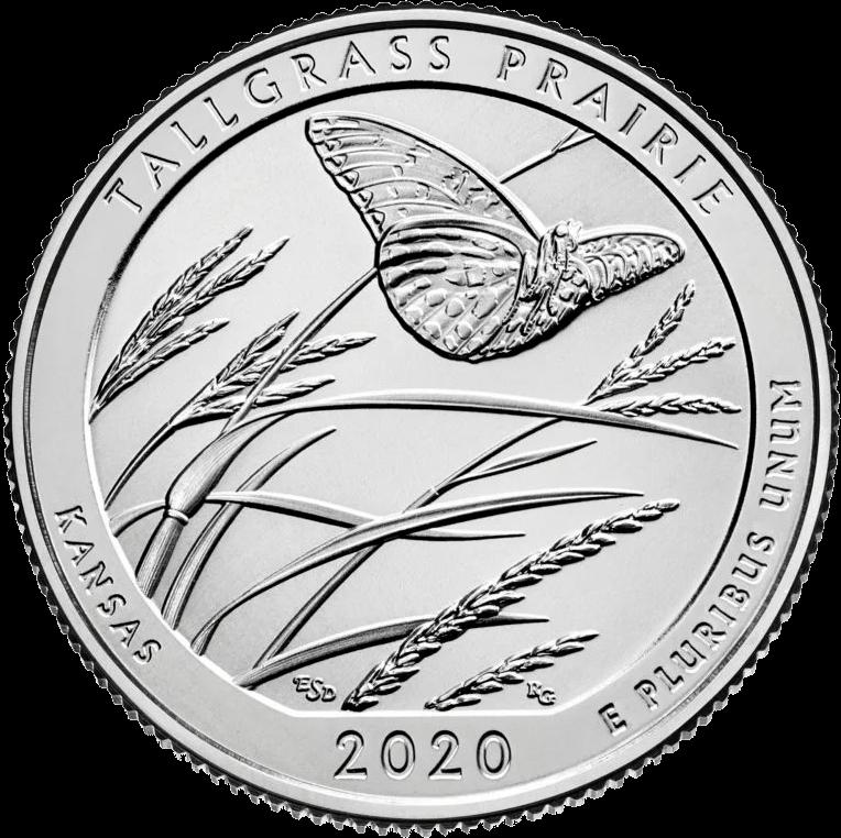 США монета 25 центов Национальный заповедник прерий Tallgrass, реверс