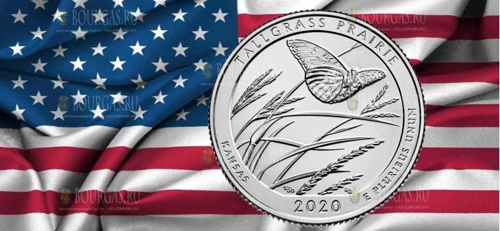 США монета 25 центов Национальный заповедник прерий Tallgrass
