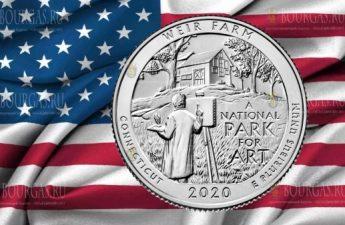 США монета 25 центов Вейр Фарм национальный исторический парк