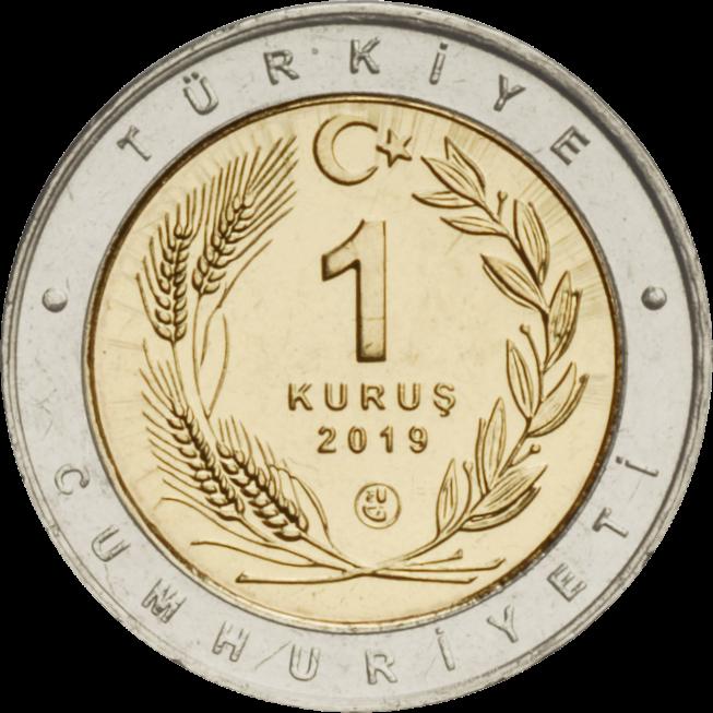 Турция монета 1 лира 2019 года, аверс