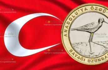 Турция монета 1 лира Ходулочник