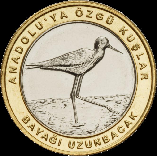 Турция монета 1 лира Ходулочник, реверс
