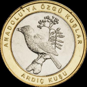 Турция монета 1 лира Рябинник, реверс