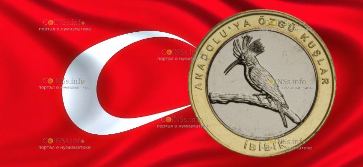 Турция монета 1 лира Удод