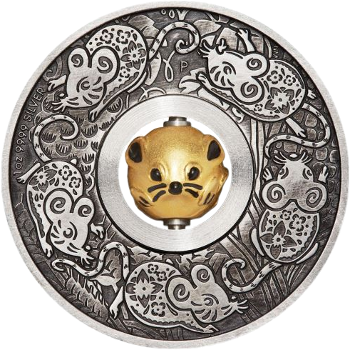 Тувалу монета 1 доллар Год крысы, реверс