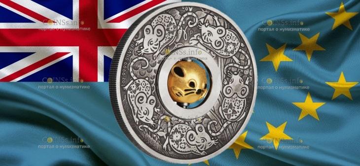 Тувалу монета 1 доллар Год крысы