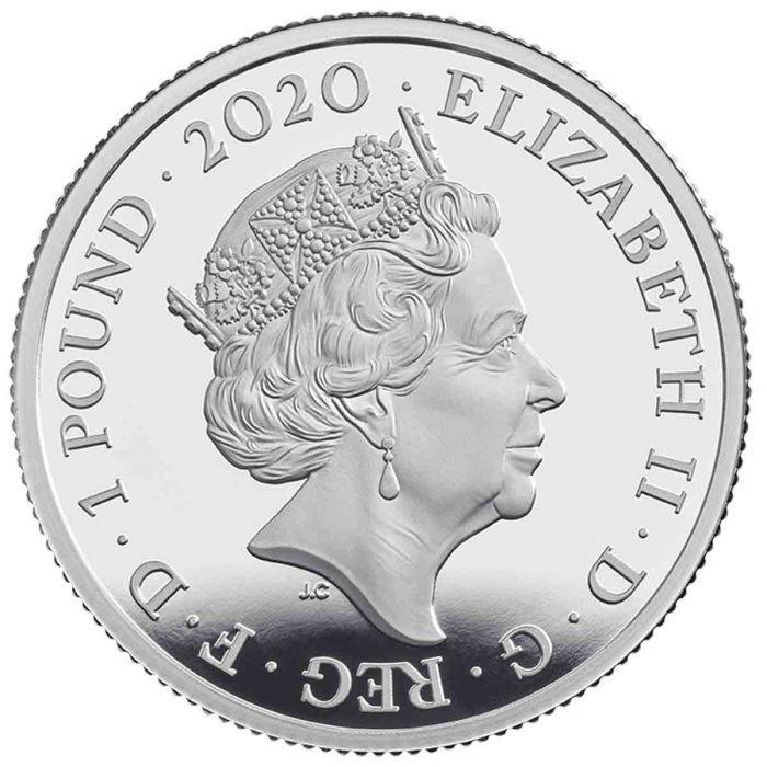 Великобритания монета 1 фунт группа The Queen, аверс