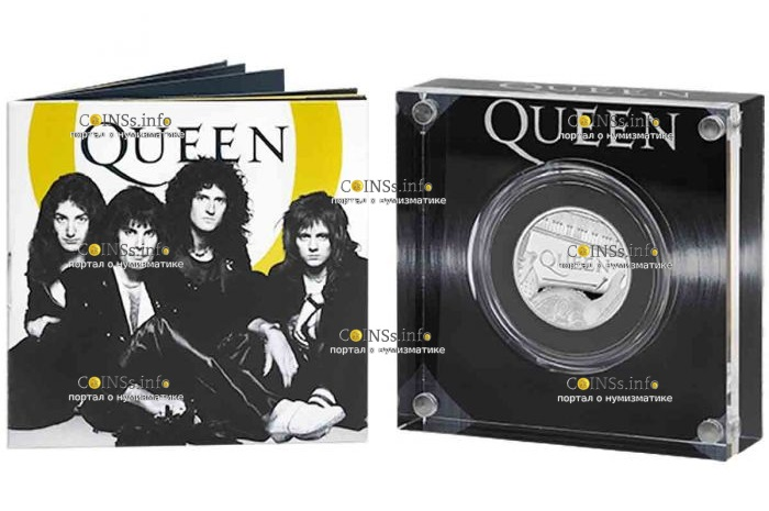 Великобритания монета 1 фунт группа The Queen, подарочная упаковка