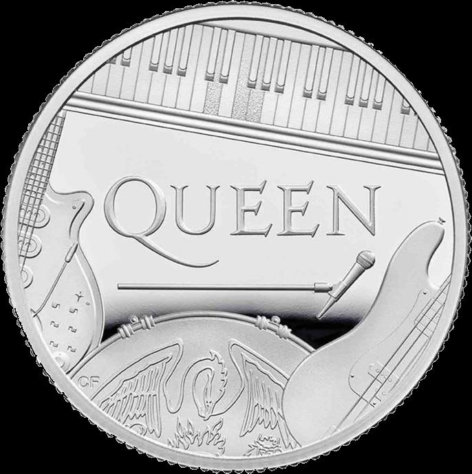 Великобритания монета 1 фунт группа The Queen, реверс