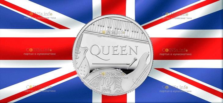 Великобритания монета 1 фунт группа The Queen