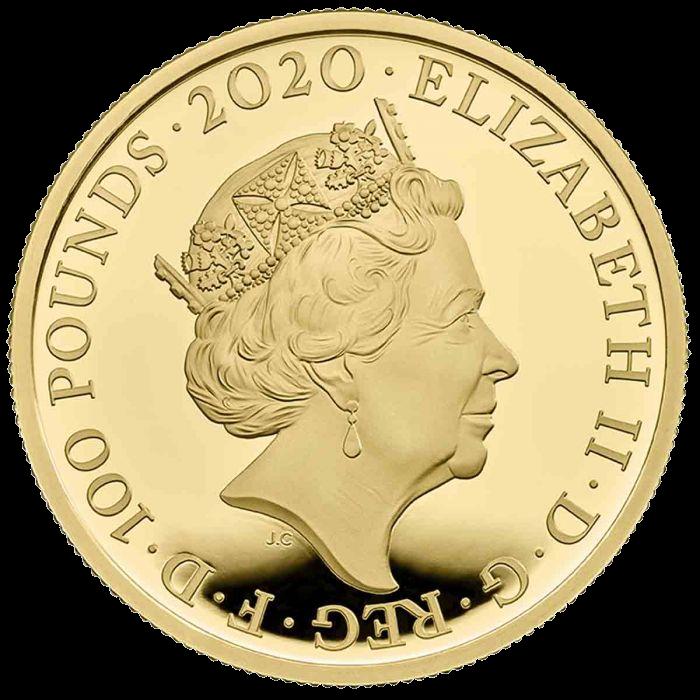 Великобритания монета 100 фунтов группа The Queen, аверс