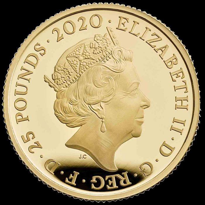 Великобритания монета 25 фунтов группа The Queen, аверс