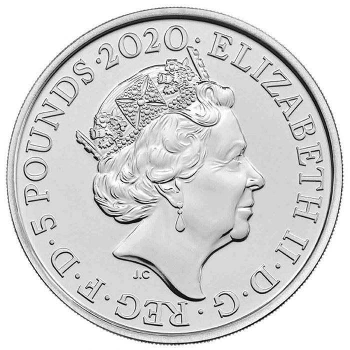 Великобритания монета 5 фунтов группа The Queen, аверс