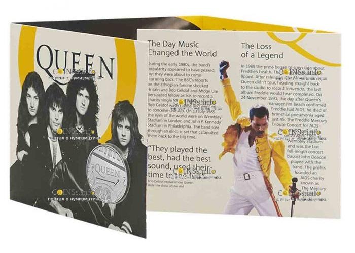 Великобритания монета 5 фунтов группа The Queen, подарочная упаковка