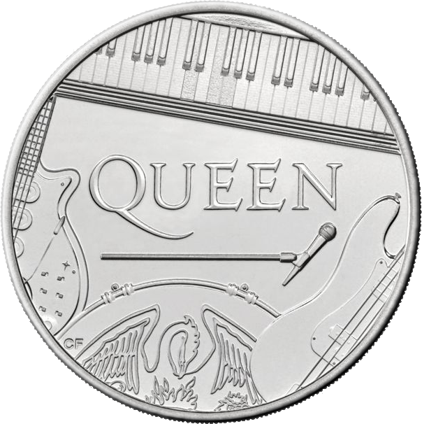 Великобритания монета 5 фунтов группа The Queen, реверс