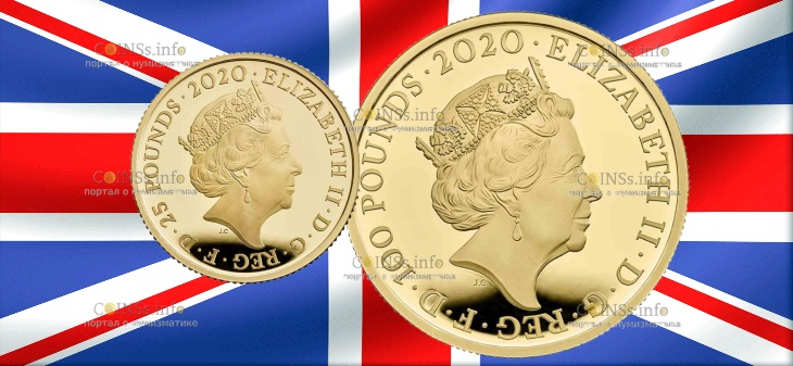 Великобритания монеты 25 фунтовии 100 фунтов группа The Queen