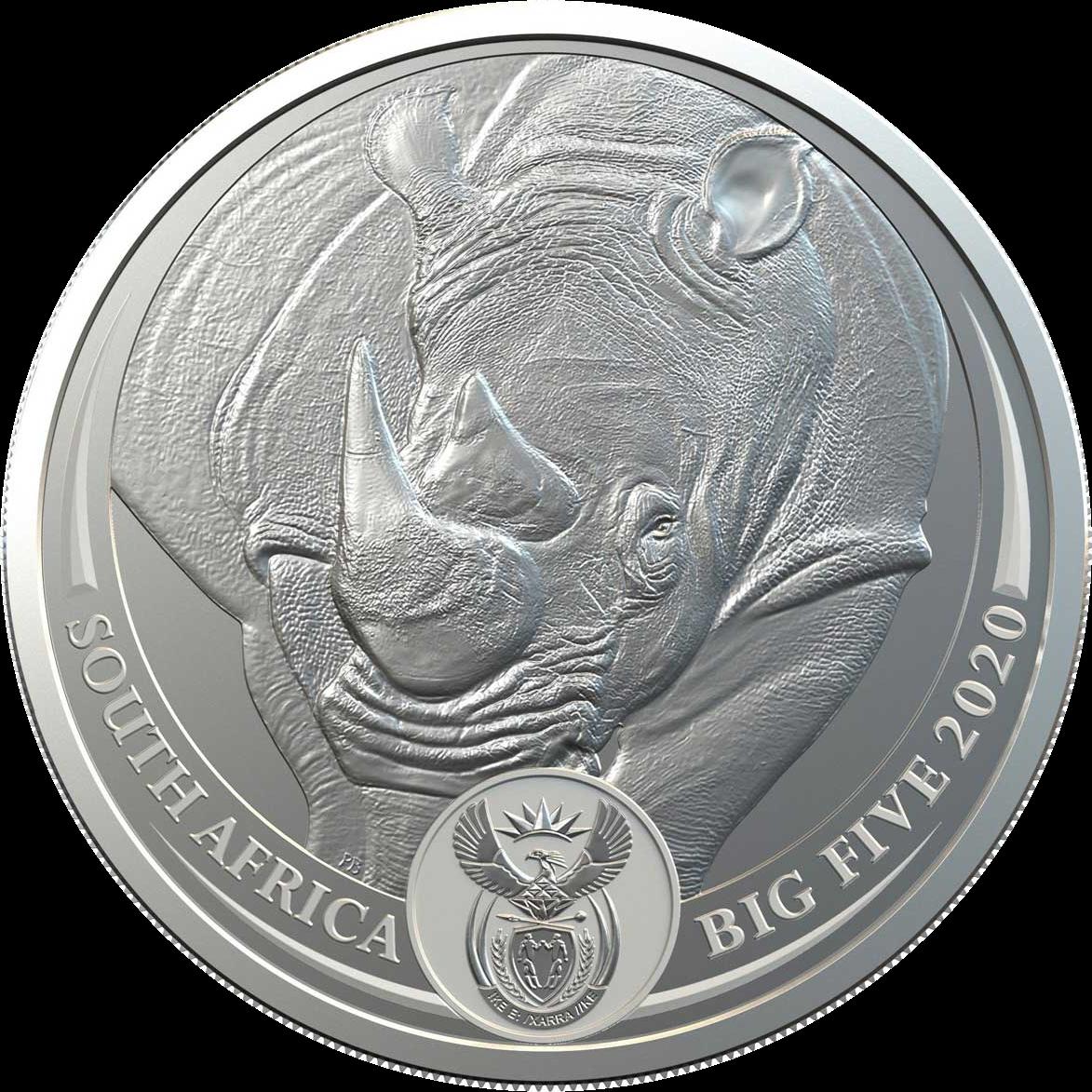 ЮАР монета 5 рандов Носорог, аверс