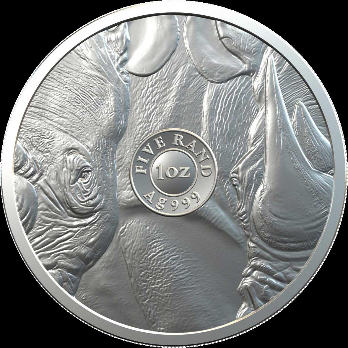 ЮАР монета 5 рандов Носорог, реверс