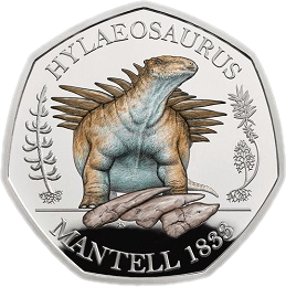 Англия монета 50 пенсов Гилеозавр, реверс