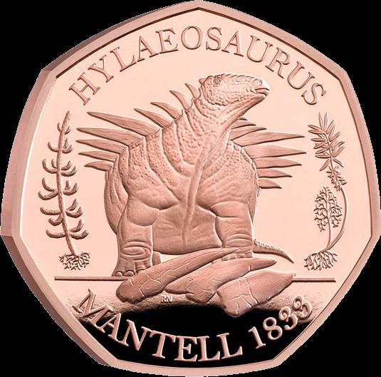 Англия монета 50 пенсов Гилеозавр, золото, реверс