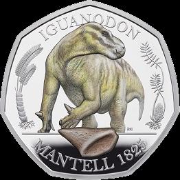 Англия монета 50 пенсов Игуанодон, реверс