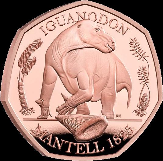 Англия монета 50 пенсов Игуанодон, золото, реверс