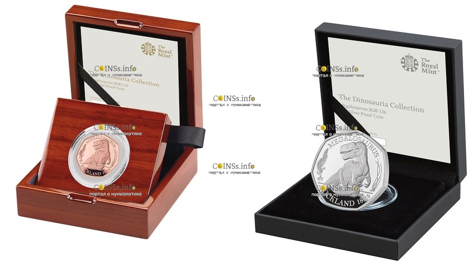 Англия монета 50 пенсов Мегалозавр, подарочная упаковка
