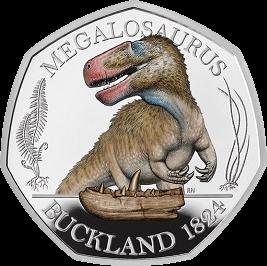 Англия монета 50 пенсов Мегалозавр, реверс