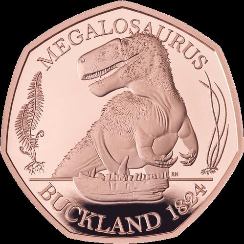 Англия монета 50 пенсов Мегалозавр, золото, реверс
