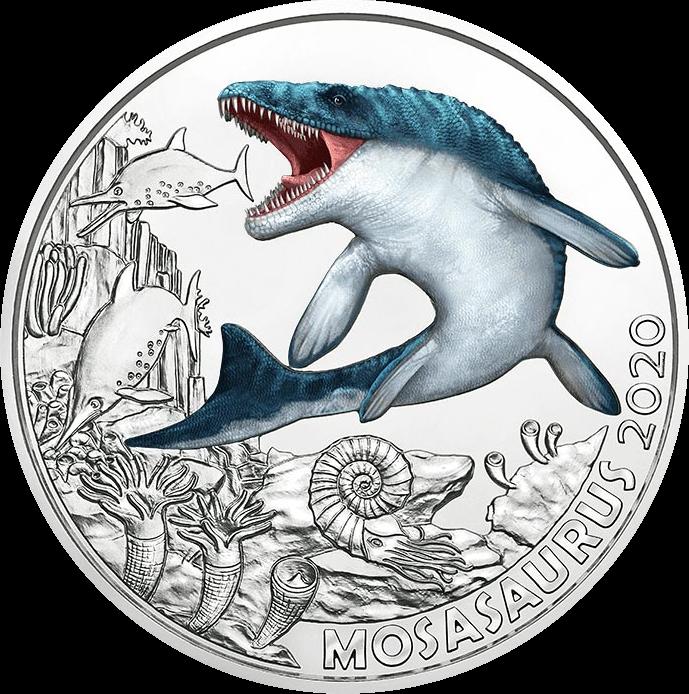 Австрия монета 3 евро Мозазавр, реверс