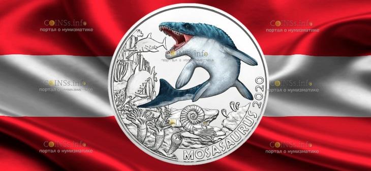 Австрия монета 3 евро Мозазавр