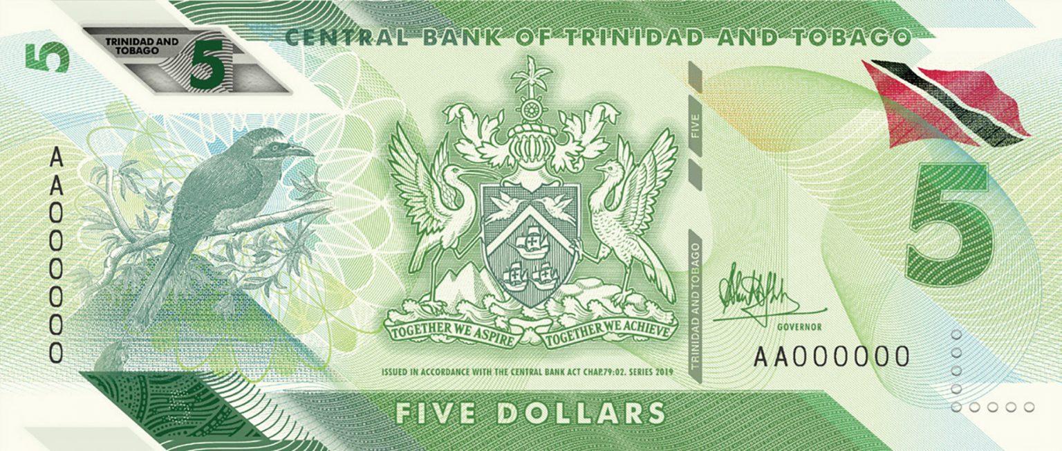 банкнота 5 долларов Тринидад и Тобаго