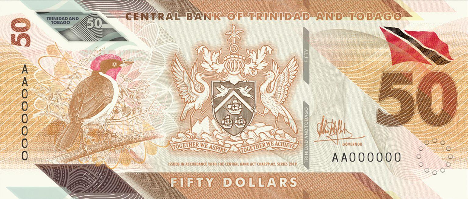 банкнота 50 долларов Тринидад и Тобаго
