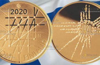 Финляндия монета 100 евро 100-летие университета Турку