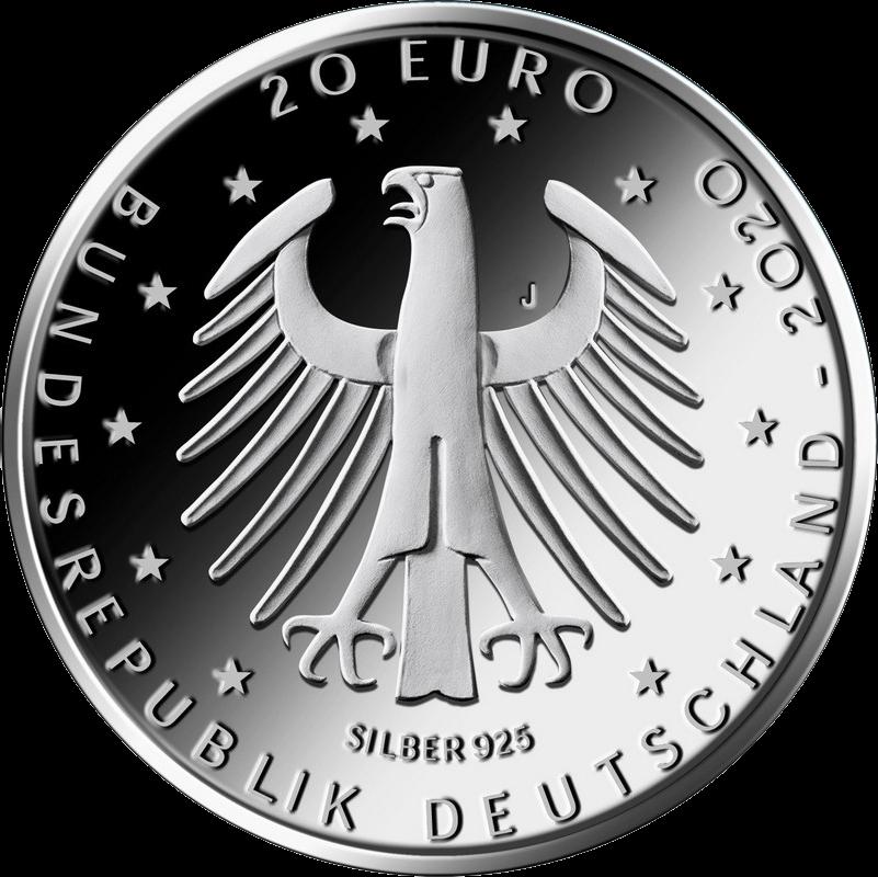 Германия монета 20 евро Чемпионат Европы по футболу 2020, аверс