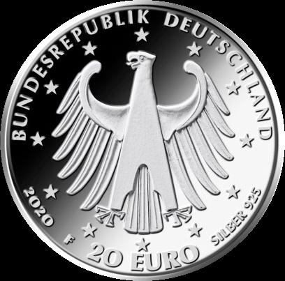 Германия монета 20 евро Людвиг Ван Бетховен, аверс