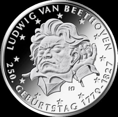 Германия монета 20 евро Людвиг Ван Бетховен, реверс