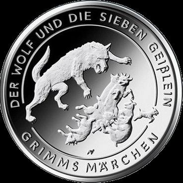 Германия монета 20 евро Волк и семеро козлят, реверс
