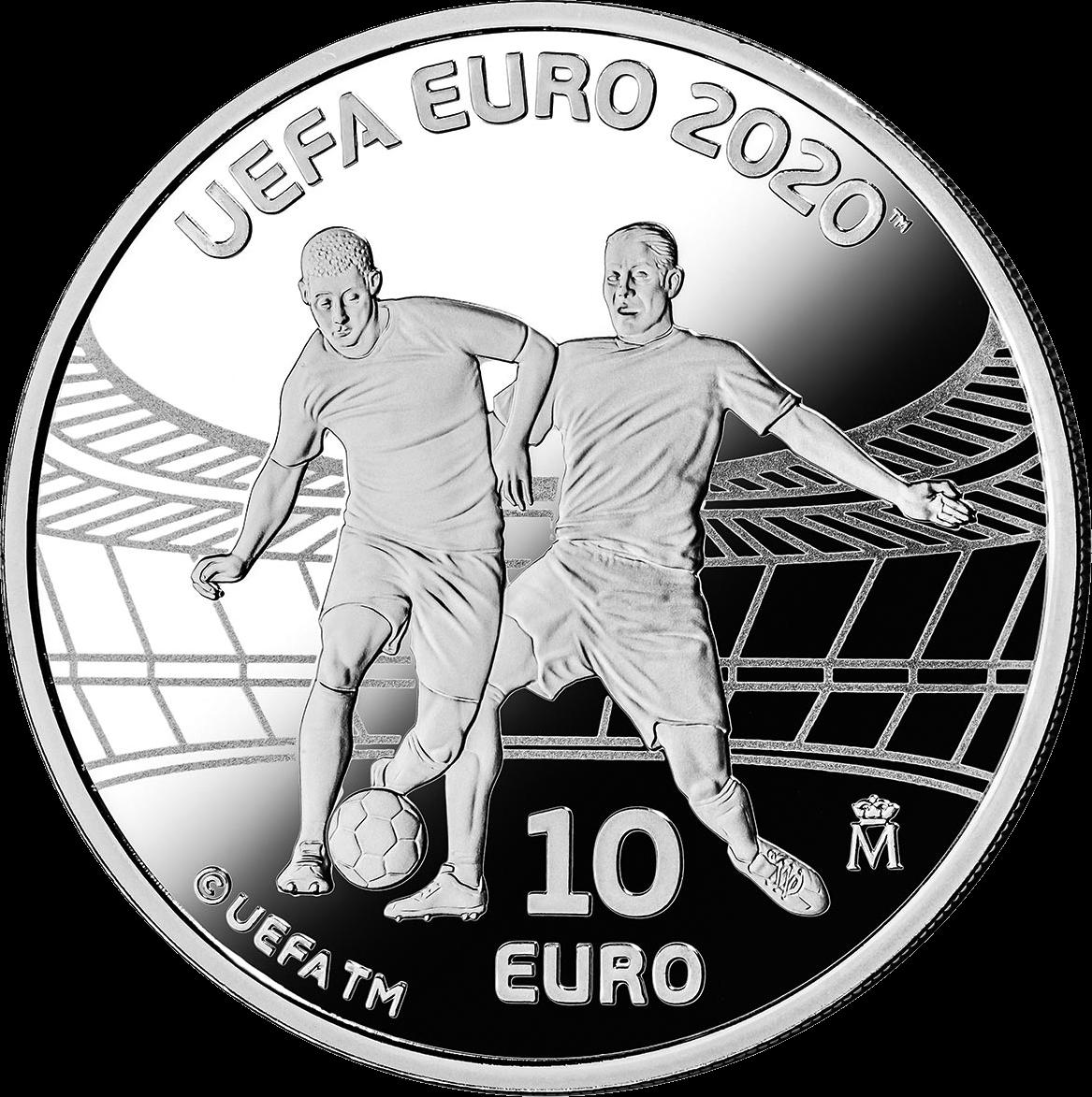 Испания монета 10 евро Чемпионат Европы по футболу 2020, реверс