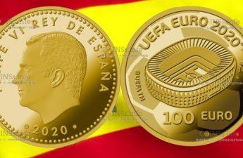 Испания монета 100 евро Чемпионат Европы по футболу 2020