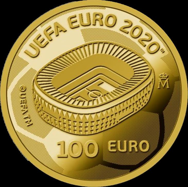 Испания монета 100 евро Чемпионат Европы по футболу 2020, реверс