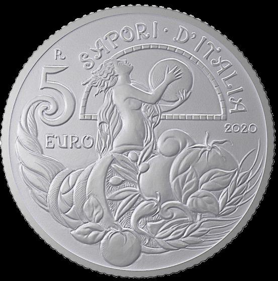 Италия монета 5 евро Пицца и моцарелла, реверс