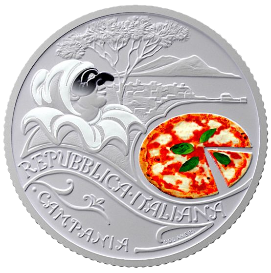 Италия монета 5 евро Пицца с моцареллой, аверс