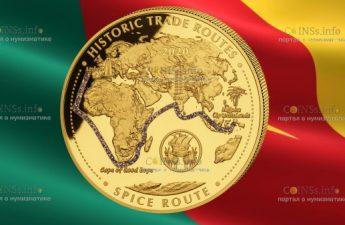 Камерун монета 10 000 франков КФА Дорога специй
