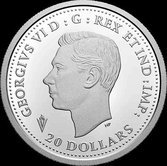 Канада монета 20 долларов Освобождение Нидерландов, аверс