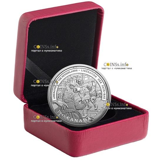 Канада монета 20 долларов Освобождение Нидерландов, подарочная упаковка