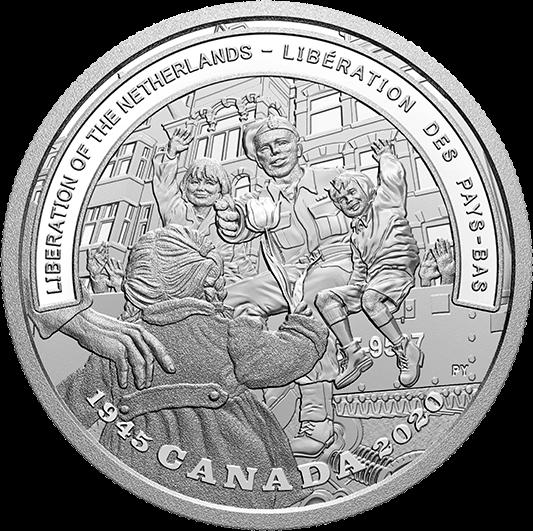 Канада монета 20 долларов Освобождение Нидерландов, реверс