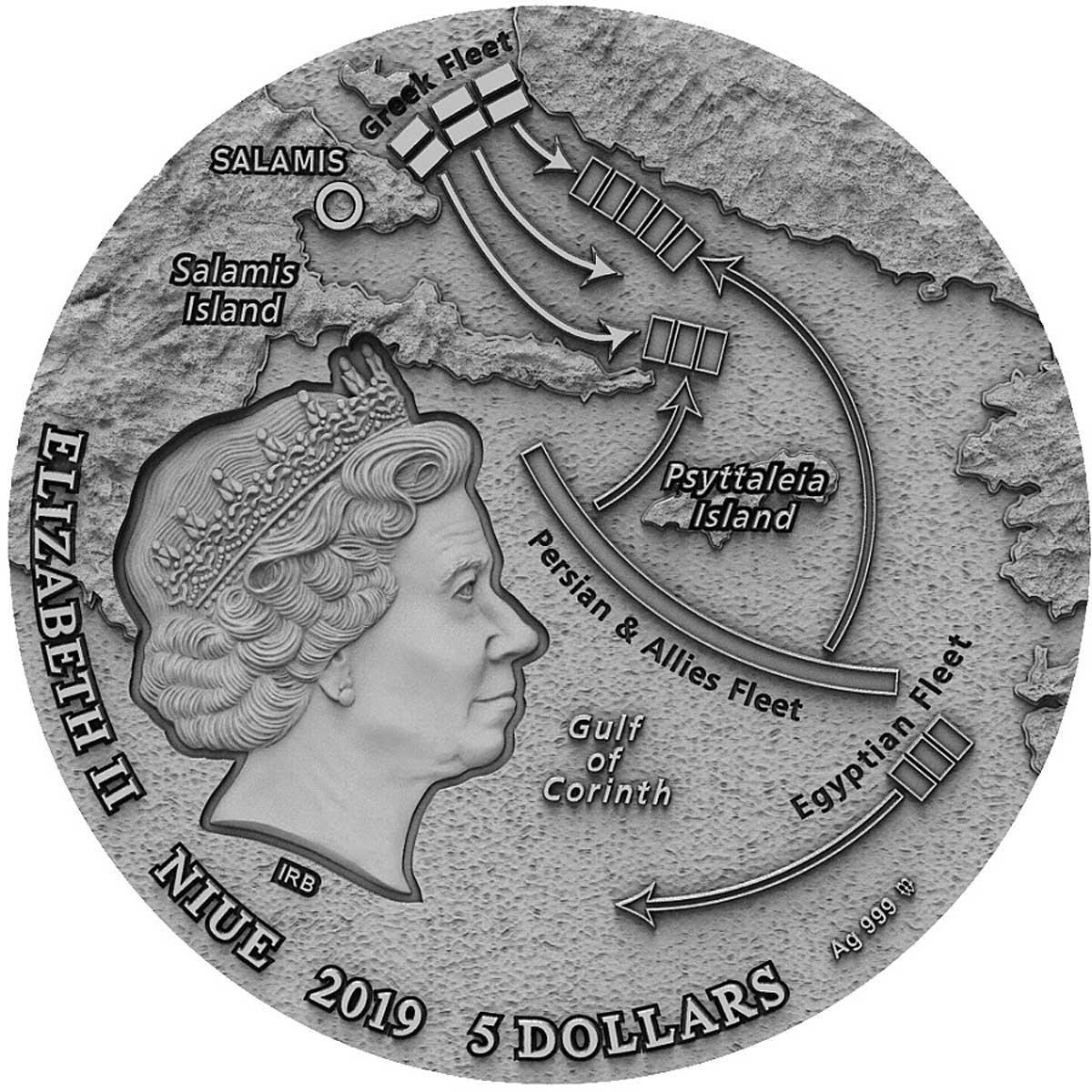 Ниуэ монета 5 долларов Битва при Саламине, аверс